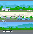 transport banner set vector image vector image