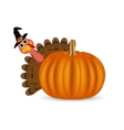 Turkey on Thanksgiving Day looks out from behind vector image vector image
