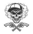 vintage monochrome bandit skull vector image vector image