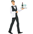 waiter with a tray vector image vector image