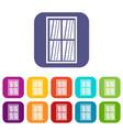 white latticed rectangle window icons set flat vector image vector image
