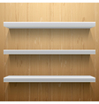 White shelves on wood background vector image