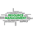 word cloud resource management vector image vector image