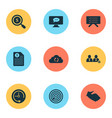 work icons set with search money goal deadline vector image vector image