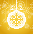 Yellow Christmas greeting card vector image vector image