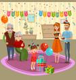 family birthday home celebration cartoon vector image