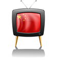 A TV with the flag of China vector image vector image