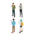 adult men and women speaking on telephone vector image vector image