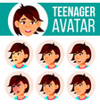 asian teen girl avatar set face emotions vector image