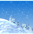 background snowy mountain with firs and snowflakes vector image