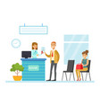 bank manager consulting customer in office vector image