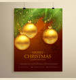beautiful merry christmas background design flyer vector image vector image