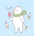 cartoon cute polar bear and ice cream vector image vector image