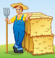 cartoon farmer with pitchfork and hay bales vector image