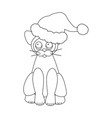 cat in santa claus hat coloring page vector image vector image