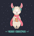 christmas background with a happy llama vector image vector image