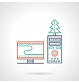 Christmas workplace flat color line icon vector image vector image