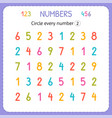 circle every number two numbers for kids vector image