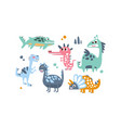 cute dinosaurs set adorable animals childish vector image