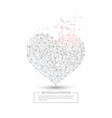 digitally drawn love heart low poly wire frame vector image vector image