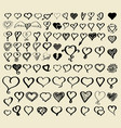 doodle sketch hearts collection vector image