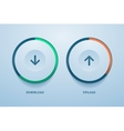 download and upload buttons with progress bar vector image vector image