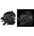 drawing a hanuman silhouetted on white vector image vector image