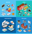 education isometric 2x2 design concept vector image vector image