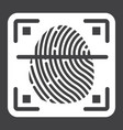 fingerprint scanner solid icon id and security vector image vector image