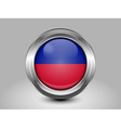 Flag of Haiti Metal and Glass Round Icon vector image vector image
