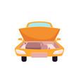 flat cartoon yellow sedan car open hood vector image vector image