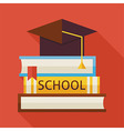 Flat Graduation from School with Hat and Books vector image vector image