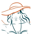 girl in bikini and hat on a white vector image vector image