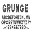 grunge alphabet letters and numbers set vector image