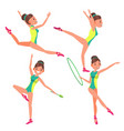 gymnastics young woman player gymnastic vector image