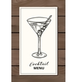Hand drawn martini cocktail vector image vector image