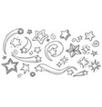 hand drawn star doodles vector image vector image