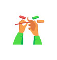 hands modeling elephant statuette from plasticine vector image