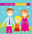 happy family members parents and their daughter vector image