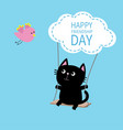 happy friendship day cat ride on the swing cloud vector image vector image