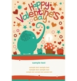 Happy Valentines Day Greeting Elephant vector image