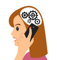 head and gears young woman talking on the phone vector image