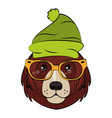 hipster bear cool sketch vector image vector image