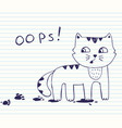 little naughty cat with dirty footprints oops vector image