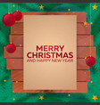merry christmas and happy new year wooden frame vector image