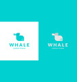 minimalistic logo a smiling whale modern vector image