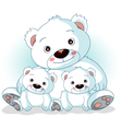 mother polar bear with her sons vector image vector image