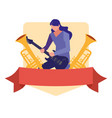 musician man electric guitar playing vector image vector image