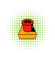 No red button icon comics style vector image vector image