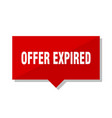 offer expired red tag vector image vector image